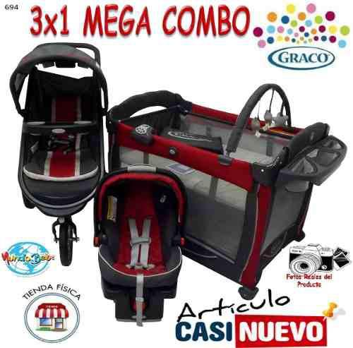 Corral Graco Con Coche 3 Ruedas Y Portabebe Impecable.-