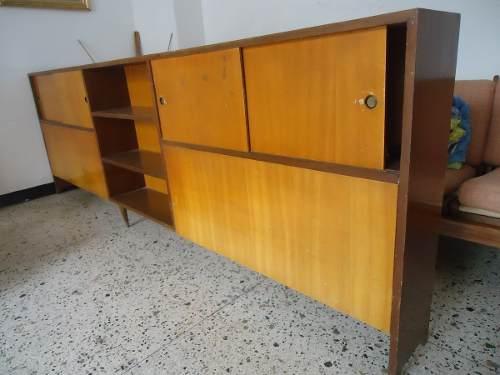 Mueble Biblioteca De Madera Años 60