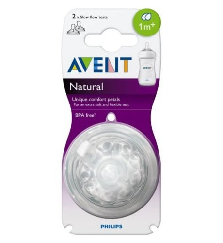 Set De 2 Tetinas Natural Philips Avent Flujo Lento 1 Mes+