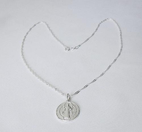 Cadena 45 Cms + Medalla San Benito Plata 925 Calidad