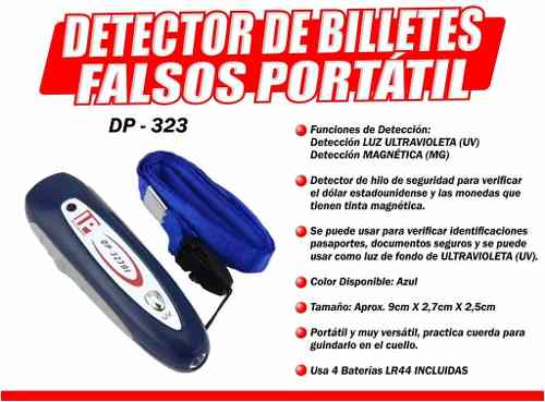 Detector De Billetes Falsos Sensor Mas Grande Luz Uv