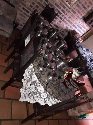 Juego Comedor 6 Madera Caoba Y Zuela. Torneado. Con Vidrio