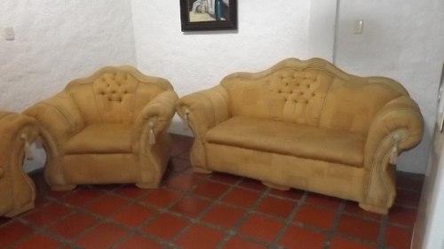Juego De Sala Recibo Con 2 Butacas Y Sofa 3 Puestos Con Mesa