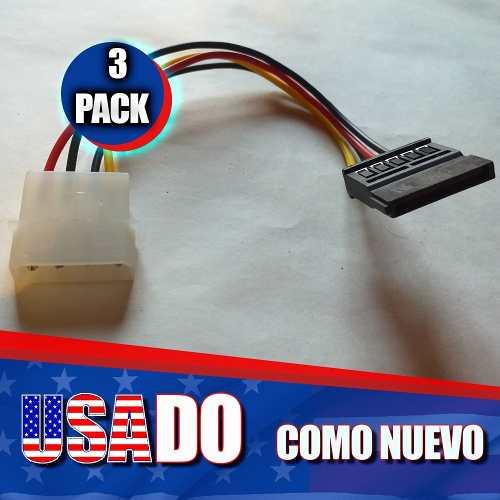Cable Corriente Power Sata Macho A Molex Pc 3 Unidades