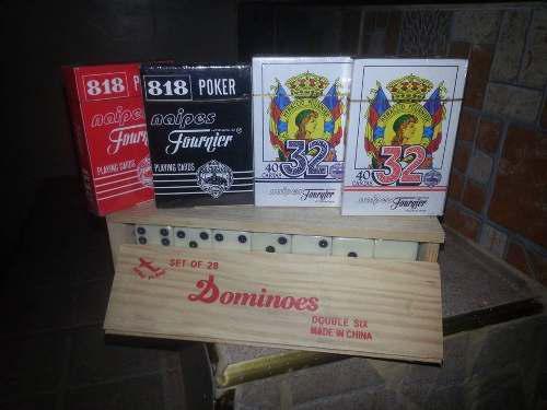 Domino Caja De Madera + 4 Juego De Cartas Excelente Calidad