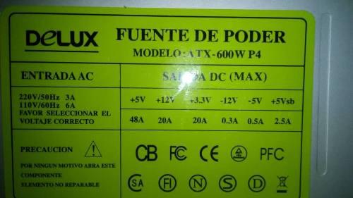 Fuente De Poder Atx Pc 600w
