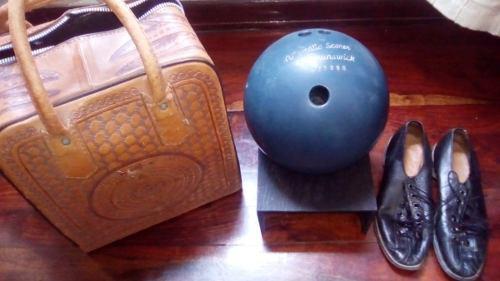 Set De Bola De Bowling Brunswick, Bolso De Cuero Y Zapatos