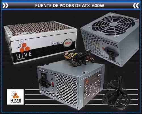 Fuente De Poder Atx 600w Hive 20/24 Pines Conector Sata
