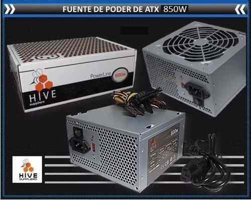 Fuente De Poder Atx 850w Hive 20/24 Pines Conector Sata