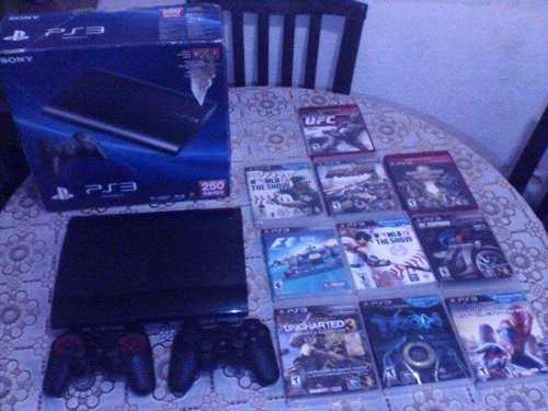 Playstation 3, Con 2 Controles Y 10 Juegos