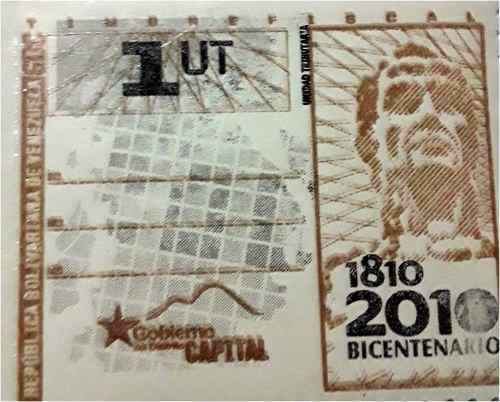 Timbres Fiscales 1 Ut Distrito Capital 10 Vds