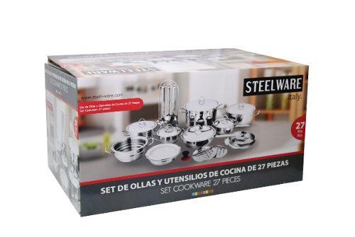 Juego De Ollas Y Utensilios Acero Steel Ware 27 Piezas