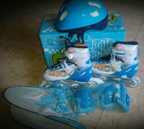 Patines Lineales Con Kit Completo De Proteccion
