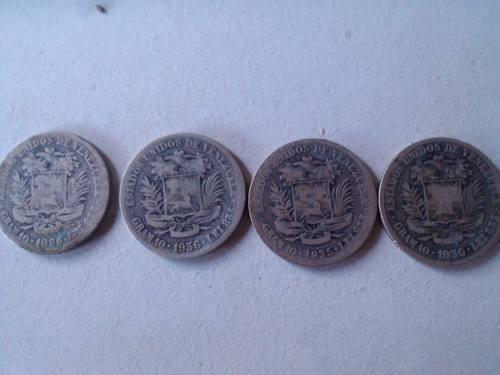4 Monedas De 2 Bolivares De Los Años  Vf+