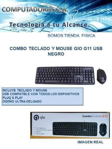 Combo Teclado Y Mouse Gio G11 Usb Negro