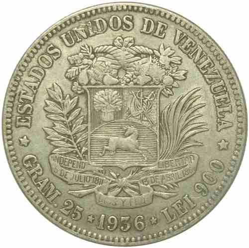 Moneda 5 Bolívares Fuerte Plata  Fecha Ancha 3 Alto
