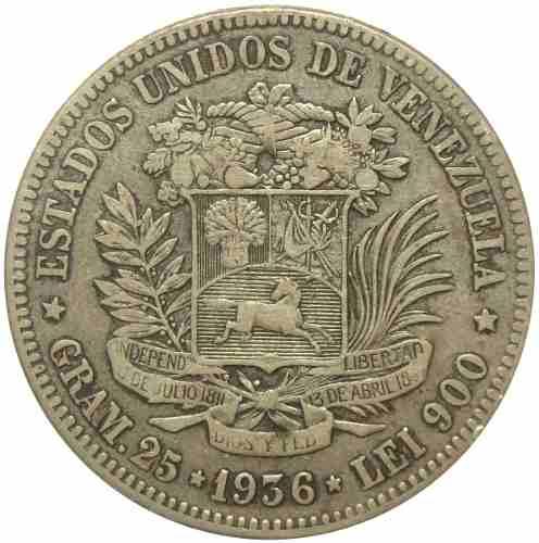 Moneda 5 Bolívares Fuerte Plata  Fecha Normal