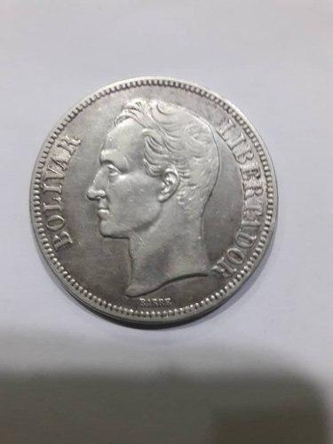 Moneda Antigua De 5 Bolivares, Fuerte De Plata, Año
