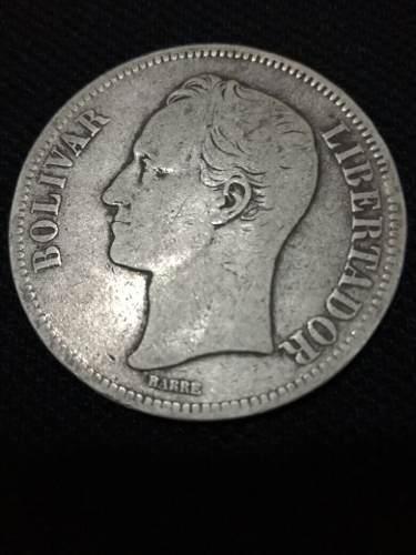 Moneda De Plata 5 Bs Fuerte Año