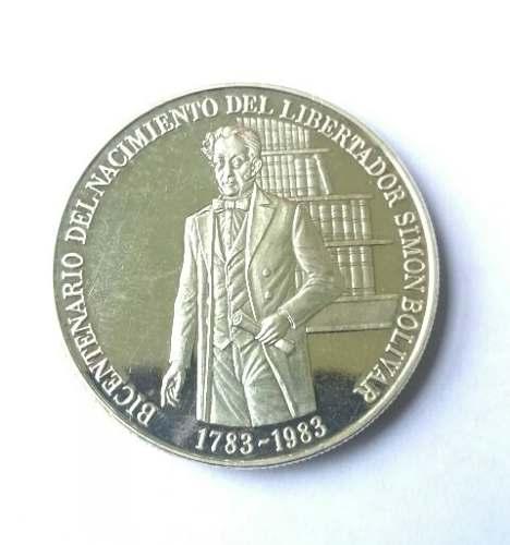 Moneda De Plata. Bicentenario Del Nacimiento Del Libertador