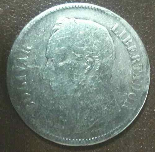 Moneda De Plata Cinco Bolivares (fuerte) Año  Ley 900