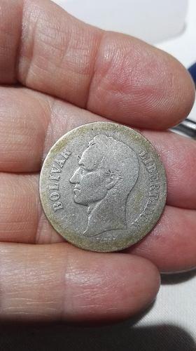 Moneda De Plata De 2 Bs. Año grs. Ley 835