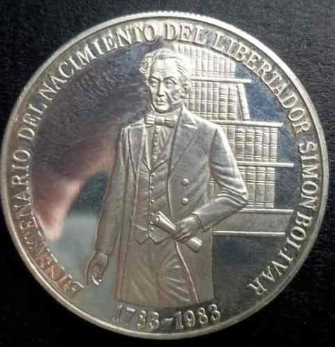 Moneda De Plata Ley 900 Del Libertador Simon Bolivar