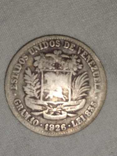 Moneda En Plata De Dos Bolivares Venezolana Año