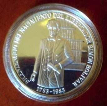 Moneda Plata Ley 900 Bicentenario Natalicio Simon Bolivar