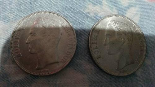 Monedas Antiguas De 2 Bolivares Una Año  Otra .