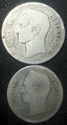 Monedas De Plata Lei  Y 1 Bs. Año . Buen Estado