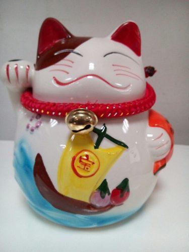 Alcancía Gato De La Suerte Feng Shui 14cm Alto
