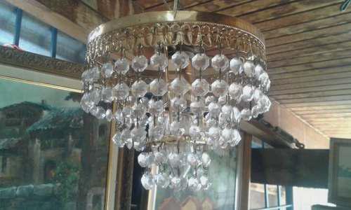 Lampara Antigua De Bronce Con Lagrimas De Cristal