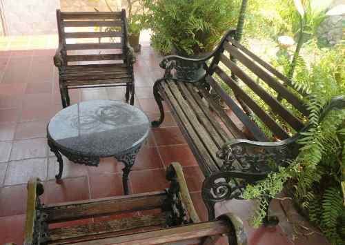 Juego De Muebles Para Jardín En Hierro Y Madera