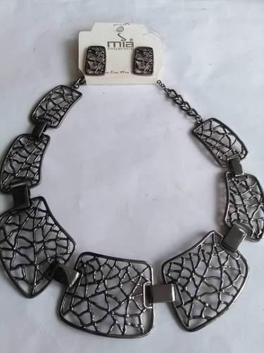 4875982e033a Bisuteria collar gargantilla con zarcillos gris plomo