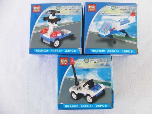 Carrito Armable Tipo Lego Policias Didactico Somos Tiend