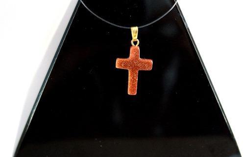 Collar Con Dije Cruz De Lluvia De Oro Piedra Real