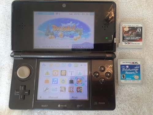 Nintendo Ds 3d Con Forro Cargador Y Juegos
