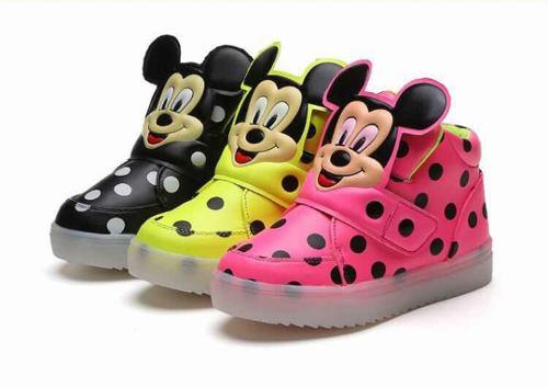 Zapatos De Niña Mickey Luces Led Rosado 21 Y solamente