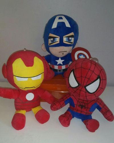 Peluches Avengers Capitán América, Iron Man, Spiderman