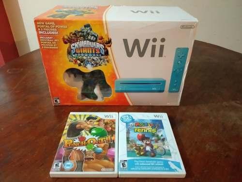 Nintendo Wii Celeste Buen Estado + 3 Juegos Negociable