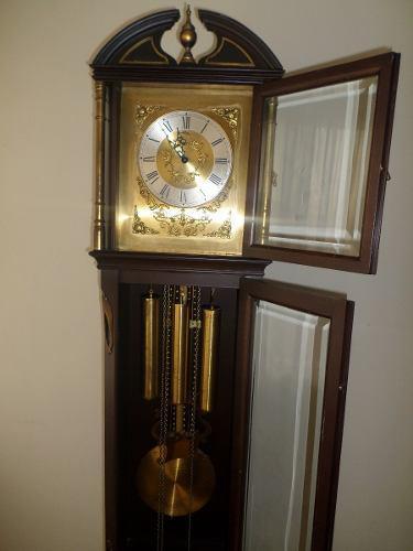 Reloj Grand Father Aleman Antiguo Cuerda Y Bronce Funciona