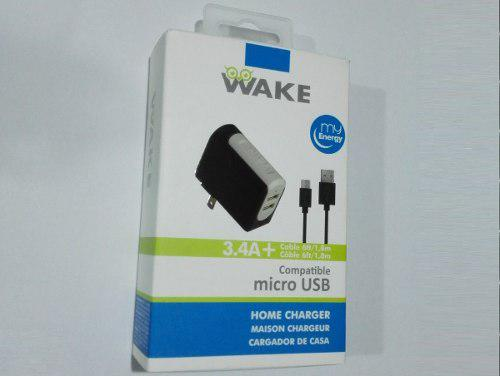 24* Cargador Wake Pared Micro Usb 3.4a (2 Puertos) Sam/huaw
