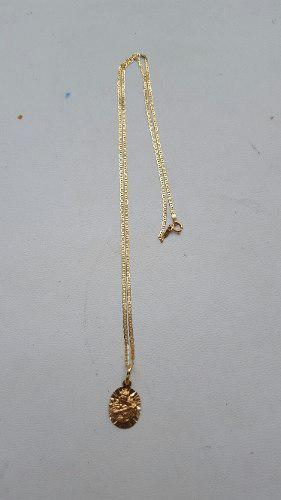 Cadena Y Dije De Oro 18 K Virgen Carmen