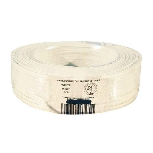 Cable Telefónico Rj11 De 4 Hilos En Color Blanco Rollo 100m