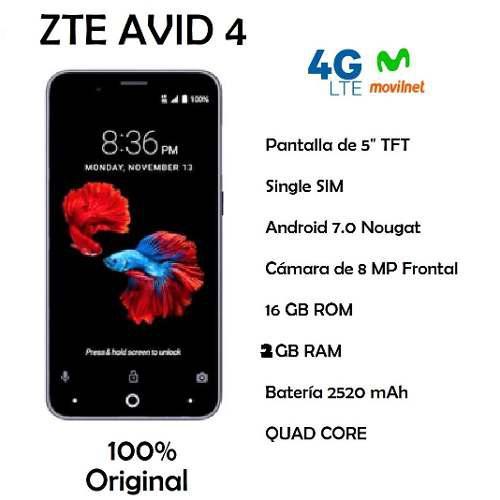 Celular Zte Avid 4 4g, 8mp Cámara Trasera/ 5mp Cámara