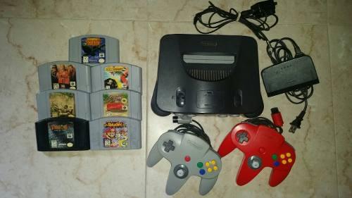 Nintendo 64 (2 Controles, 7 Juegos, Cables)