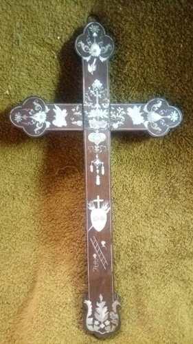 Cruz Antigua Italiana De Madera Con Incrustaciones De Nácar