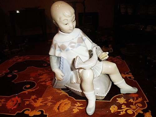 Figura Antigua De Porcelana Lladro Niño Con Paloma Perfecto
