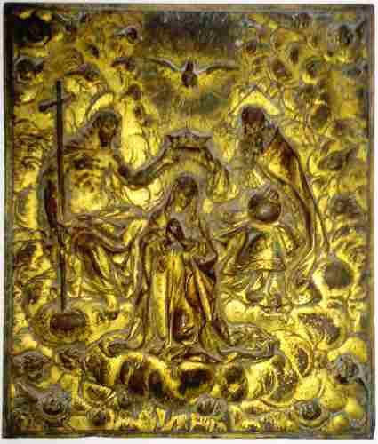 Muy Antigua Placa De Bronce Relieve Coronación De La Virgen